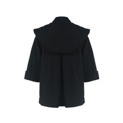 wave detail cape coat black